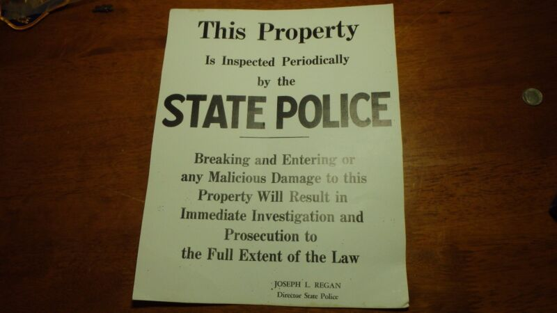 RARE NEW HAMPSHIRE STATE POLICE SIGN COL. JOSEPH L. REAGAN PROPERTY SIGN 1960