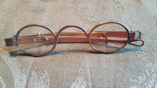 Antique Early 1800's Spectacles Etched Lenses Hallmarked Sliding Temples