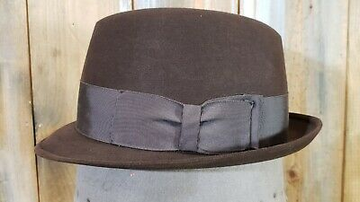 1950s Mens Hats | 50s Vintage Men's Hats Vintage Hat Brown Fedora Narrow Brim Sz 7 1950's M. Rothschild Young-Quinlan Co $49.95 AT vintagedancer.com
