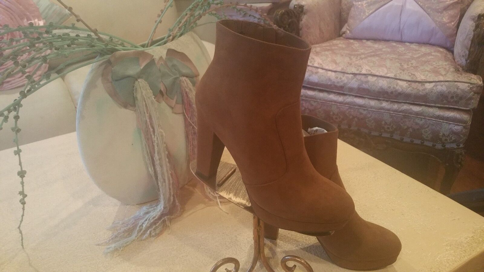 Women Ankle Boots Faux Suede Caramel Round Toe New Spool Typ