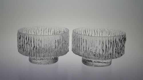 """m11-24   Pair Whitefriars Glass Icicle Glacier Textured 4"""" M136 Bowls G, Baxter"""