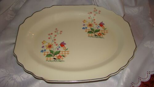 "W.S.George Canarytone Lido Gaylea Platter 13"" floral 1930's-40s 196A Vtg"