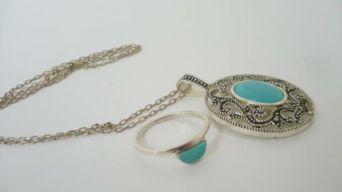 Estate Sterling, Turquoise Items, Marcasite and Sterling Pendant, Pura Vida Ring