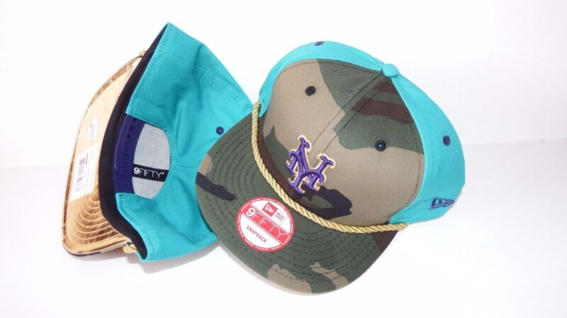 NWT NEW ERA HAT CAP SNAPBACK ADJUSTABLE NEW YORK METS CAMO TEAL PURPLE GOLD ROPE