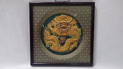 VINTAGE FRAMED HAND STITCHED CHINESE EMBROIDERED DRAGON 12'' AMAZING 1'' DEPTH!