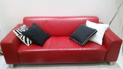 Red leather couchea sofa