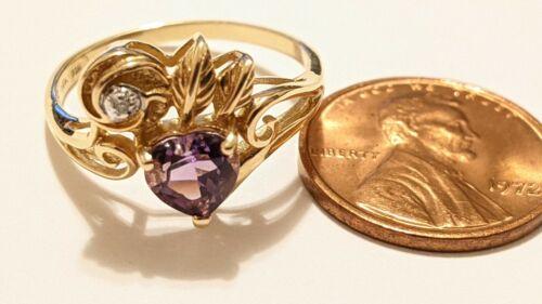 VINTAGE 14K YELLOW GOLD AMETHYST DIAMOND FILIGREE RING SIZE 7 3/4 PDN