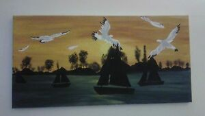Seagulls & Sailboats painting by Nancy Annett