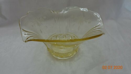 Antique Depression Glass Etched dish yellow with floral flared rim