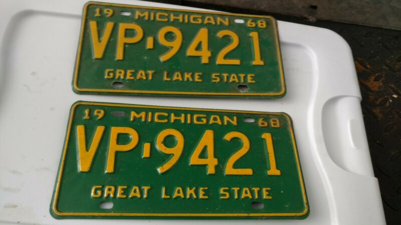 1968 Michigan license plate
