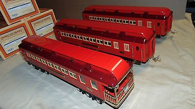 LIONEL STANDARD GAUGE 11-40068 RED COMET 3 CAR PASSENGER SET WITH ORIGINAL BOXES