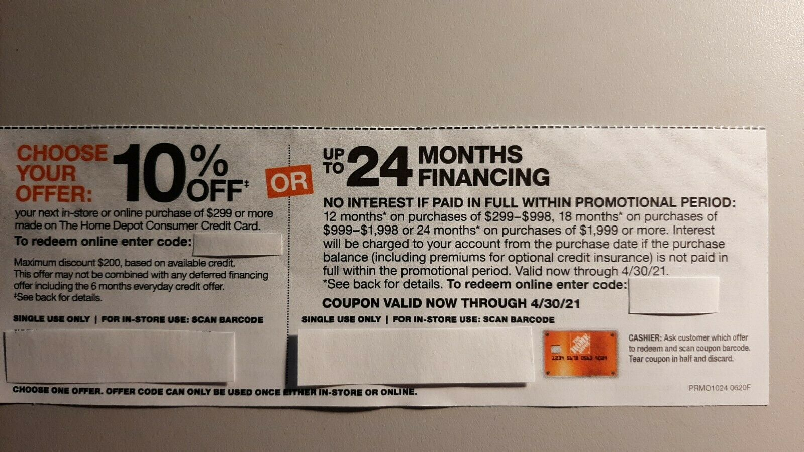 Home Depot Coupon 10 Off Or Up To 24mo. Fin. in-store Or Online Now - 4/30  - $29.99