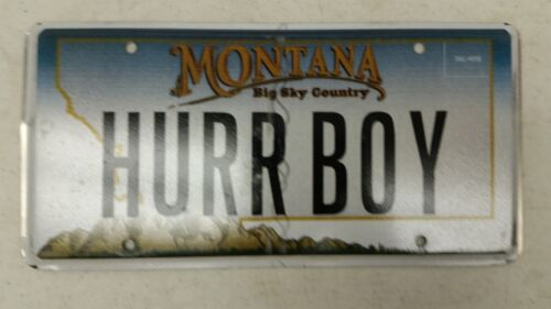 """EXPIRED MONTANA Big Sky Country """"Her Boy"""" License Plate HURR BOY"""