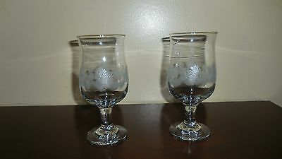 """Two 6 1/2"""" 8 oz Footed  Etched Glass Goblets"""