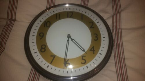pottery barn round wall clock black silver white gold