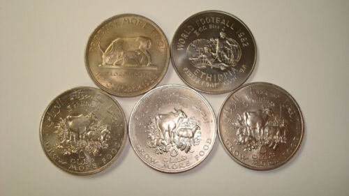 Collection of 5 African Crown Sized Coins - Somolia, Uganda, Ethiopia (#Na22)