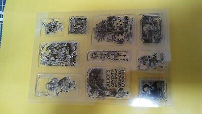 (Alice In Wonderland acrylic Stamp Set. 10 piece Lewis Carroll Rabbit Croquet pig)
