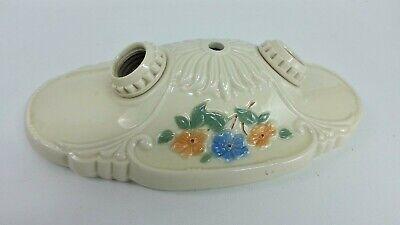Vintage Porcelain Ceramic Double Socket Ceiling Wall Light Fixture Floral Design
