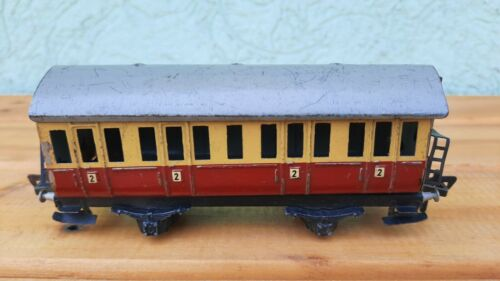 Vintage tin toy train passanger wagon. Made in US Zone Germany