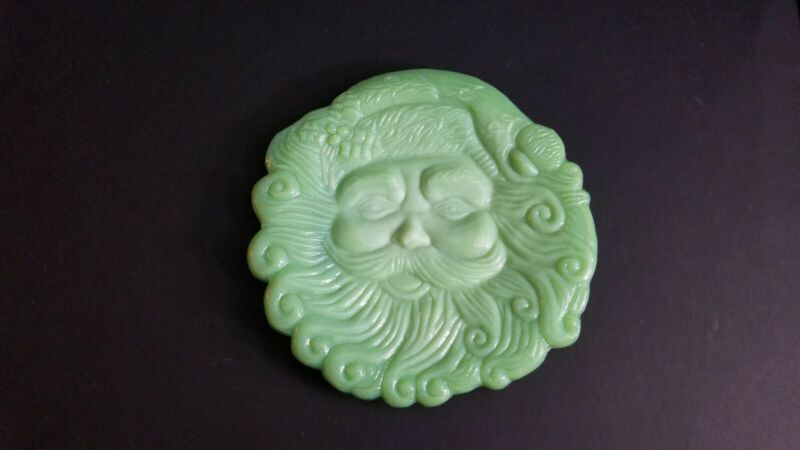 Cracker Barrel Jadeite Jade Milk Glass Santa Claus Plate Christmas Platter