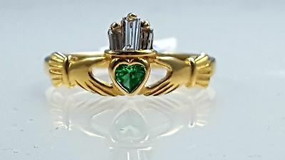 10k yellow gold claddagh ring with heart shape emerald & diamonds