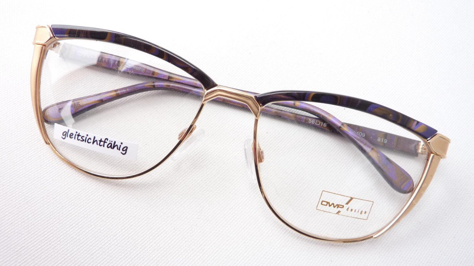 Brillengestell Damen Brille Metall hochwertig groß exklusiv gold lila braun Gr L