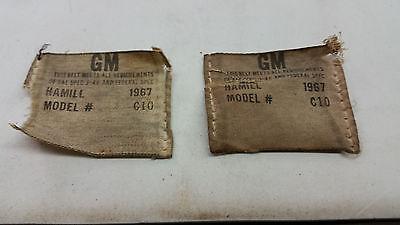 1967 CHEVROLET OEM HAMILL SEAT BELT TAGS. REPRODUCTION SEAT BELT SET