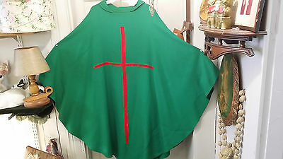 LITURGICAL CLERGY CHASUBLE VESTMENT GREEN WITH RED VELVET CROSS BLACK VELVET PAX