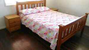 Solid timber queen bed with mattress Stafford Heights Brisbane North West Preview