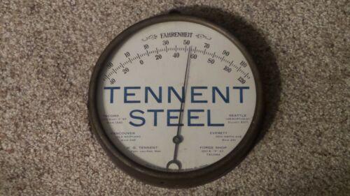 Original Antique TENNENT STEEL Advertising Thermometer ~RARE~
