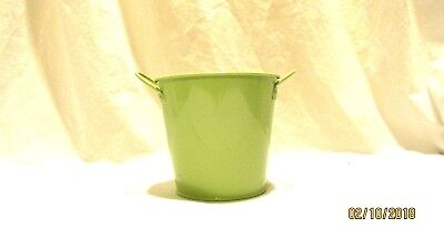 """Green Metal Bucket  Container 4"""" crafts flowers"""