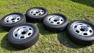 5 x 17 inch Hilux steel wheels and tyres 75%+ rubber Rooty Hill Blacktown Area Preview