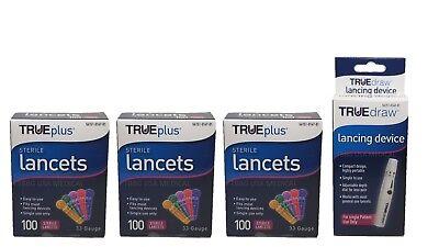 3x100 TRUEplus Diabetic Test Sterile Lancets 33 Gauge &FREE LANCETS DEVICE