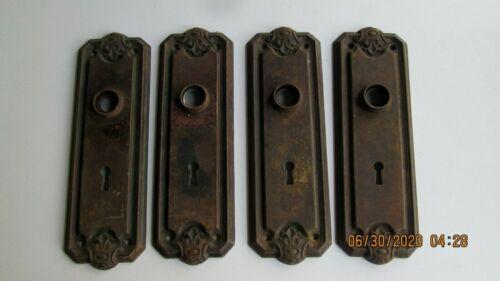 4 / Vintage Ornate Art Deco Door Knob Key Hole Back Plates