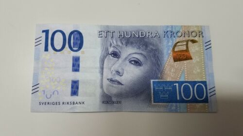 1 SWEDEN BANKNOTE 100 KRONER GRETA GARBO Circulated Ett Hundra Kronor Riksbank