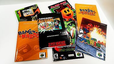 100 SNES / N64 CRYSTAL CLEAR MANUAL AND INSERT BAGS!    SUPER NINTENDO 64