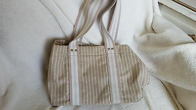 Linen purse, beige, tan and white stripes - snap closure, used