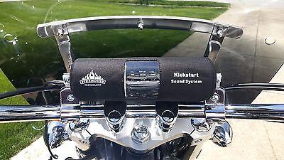 """KICKSTART BLUETOOTH MOTORCYCLE STEREO SPEAKER 1"""" LARGE BAR KIT FOR HARLEY HONDA"""