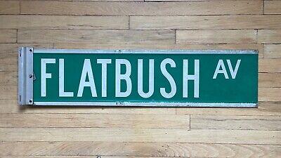 "Authentic NYC Street Name Sign: FLATBUSH AV, 36""w x 9""h, Green & White"