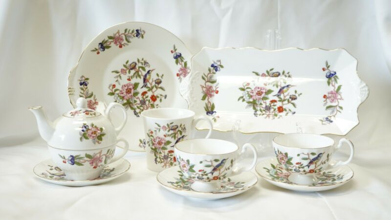 Aynsley Pembroke Tea Time Set, Fine Bone China, New Condition