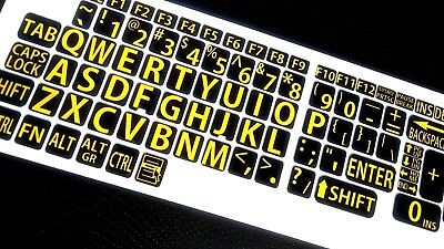 English US LARGE LETTER KEYBOARD STICKERS for Computer or Laptop/YELLOW ON BLACK