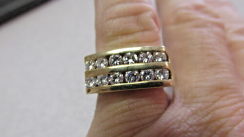 Beautiful 1.20 Ctw Vs1-g  2 Row Diamond Ring 14k Gold  Size 7 Unisex  Make Offer
