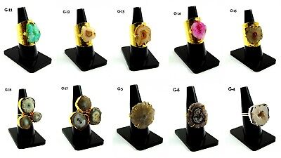 - 18K GOLD PLATED DRUZY RING MULTI SOLAR SLICE ALLOY ADJUSTABLE OVERLAY JEWELRY