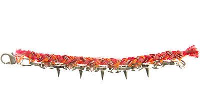 JOOMI LIM Punk Carnival Pink & Red Braided Cotton Bracelet w/ Spikes NEW