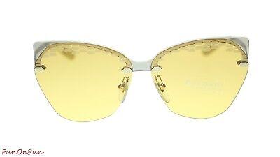 BVLGARI Designer Sunglasses BV6107 204985 Taupe Transparent/Yellow Lens 62mm
