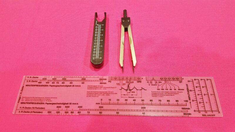 Black Deluxe ECG EKG Electrocardiograph Caliper Compass + Ruler New Combo