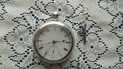 Waltham Broadway 18s 7 Jewel Key Wind, Key Set, Pocket Watch, Coin Silver Case