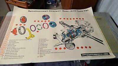 Vtg Porsche 356 Factory Service Poster Synchromesh Gearbox Transmission Cutaway