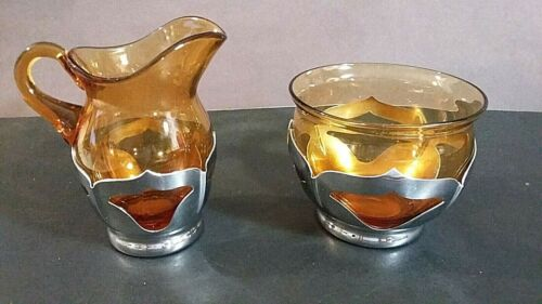 Farber Brothers Krome Kraft Amber glass Cream &  Sugar Bowl split on sugar bowl