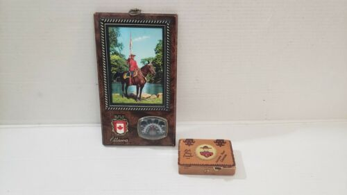 VINTAGE R.C.M.P ROYAL CANADIAN MOUNTED POLICE LOT THERMOMETER CARD HOLDER FRAME
